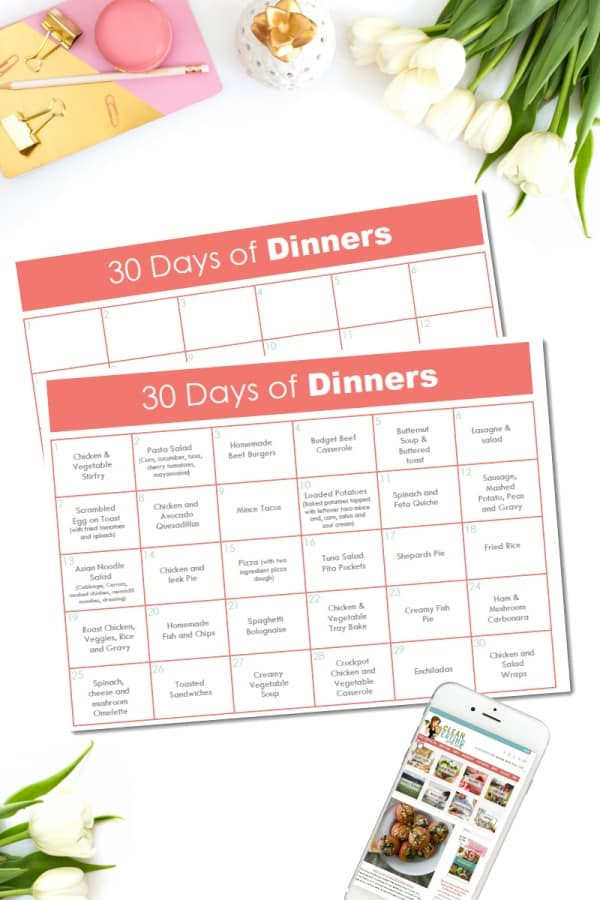 Welcome to DAY 5 of the 21 Day Free Printables Series! I've a feeling you are going to love me for this 30 Days of Dinners Planner. One Page with a month of Dinner ideas all in one place.