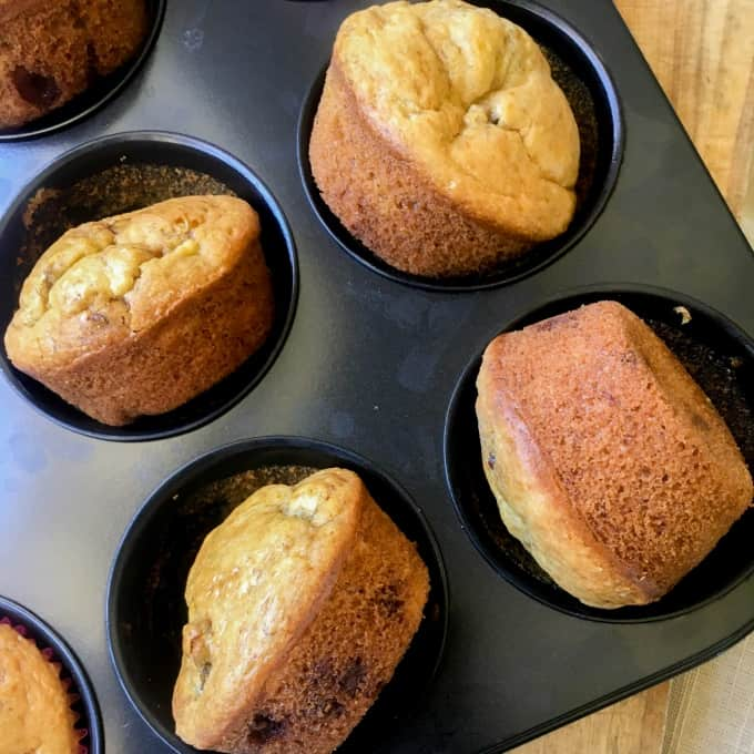 clean eating choc chip banana muffins