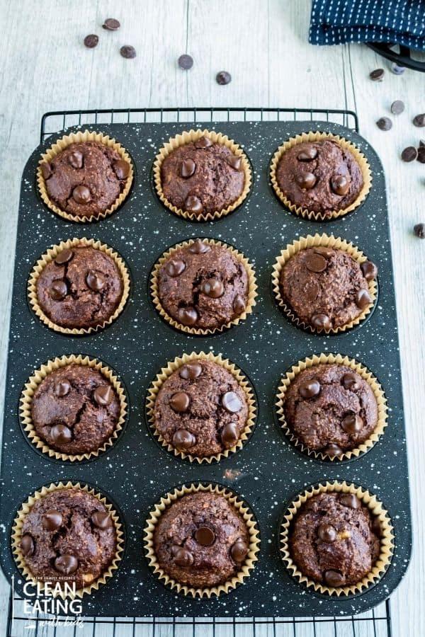 clean eating chocolate oatmeal banana muffins-bake2