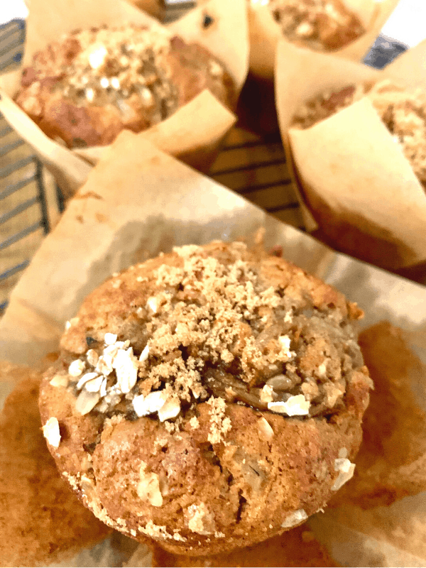 pear and cinnamon muffin